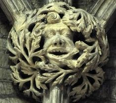 Green Man on a roof boss in Pershore Abbey, Worcestershire, England (photo Rex Harris)