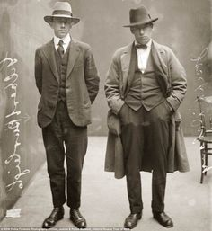 Wise guy eh? Gilbert Burleigh, left, and Joseph Delaney were labelled 'hotel barbers' in this 1920 picture. That refers to someone who check...