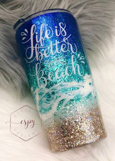 Excited to share this item from my #etsy shop: Beach tumbler/vacation/gift for her/glitter dipped Glitter Tumblr, Loose Glitter, Red Bull, Im Not Perfect, Dips, Gifts For Her, Vacation, Insulation, Epoxy