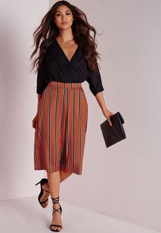 Striped Culottes Tan - Culottes - Trousers - Missguided