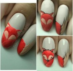 Newest Pics Fall Nail Art fox Concepts Give golden glitters a fall-perfect bring up to date through an uber quite fall leaf in shiny red ge Autumn Nails, Fall Nail Art, Fox Nails, Nail Drawing, Animal Nail Art, Light Nails, Nail Art Blog, Thanksgiving Nails, Manicure E Pedicure