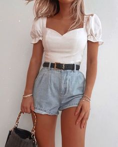 Mode Outfits, Girly Outfits, Pretty Outfits, Fashion Outfits, Fasion, 90s Outfit, White Outfits, Modest Fashion, Fashion Clothes