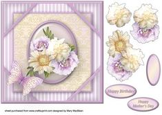 Cream and Lilac Posy Corner Frame Card on Craftsuprint - Add To Basket!