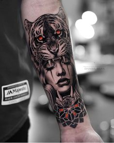 The new year has decided to take us by surprise and has released some magnificent body tattoos. These body tattoos are sensational. You will really enjoy these tattoos. Tiger Hand Tattoo, Tiger Tattoo Sleeve, Forearm Sleeve Tattoos, Best Sleeve Tattoos, Tattoo Sleeve Designs, Wolf Girl Tattoos, Tattoo Girls, Tattoos For Guys, Forarm Tattoos