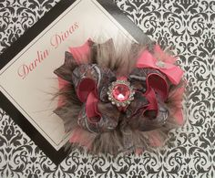 Real Camo and Hot Pink Bow Fluffy Boutique Bow with by darlindivas, $7.99