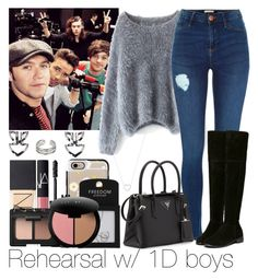 """""""Rehearsal w/ 1D boys"""" by ana-a-m ❤ liked on Polyvore featuring Chicwish, Prada, NARS Cosmetics, Casetify, Topshop, Bobbi Brown Cosmetics and Tiffany & Co."""