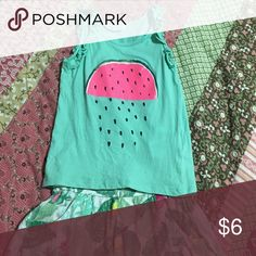 Great condition girl's H&M tank top Size US 2-4y  minty green tank with ruffles on the shoulders and watermelon print. H&M Shirts & Tops Tank Tops