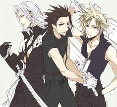 Sephiroth, Zack Fair, Cloud Strife (Final Fantasy VII and Crisis Core)