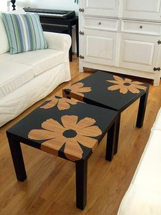 Get some cheap wooden tables & spray paint with the stencil of your choice!