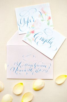Wedding Invitations with Blue Calligraphy | photography by http://www.emmawyatt.com/ #peach #pink #yellow