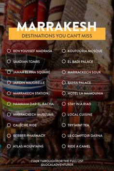 Looking for the best things to do in Marrakech Morocco? These are the spots you don't want to miss + useful tips for your visit | What to Do in Marrakech | Places to Visit in Marrakech // Local Adventurer #localadventurer #marrakesh #marrakech #maroc #morocco #moroccotravel #northafrica #travelmore #travelbucketlist Marrakech Morocco, Marrakesh, Stuff To Do, Things To Do, Morocco Travel, Adventurer, Places To See, Helpful Hints, Tips
