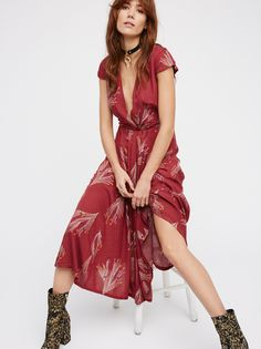 Printed Retro Midi Dress | Pretty short sleeve midi dress with a delicate femme print. Wrapped V-neckline. Super soft and lightweight fabrication. Hidden side zipper closure. Fully lined.