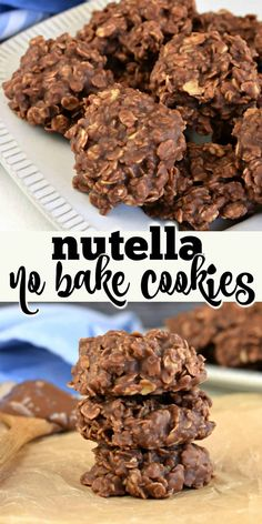 Hazelnut chocolate spread mixed with peanut butter and oats create perfect Nutella Cookies. You& love this new extra chocolate-y spin on no bake cookies. Easy No Bake Desserts, Delicious Desserts, Yummy Food, Baking Recipes, Cookie Recipes, Baking Ideas, Kids Baking, Sweets Recipes, Yummy Recipes