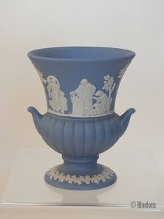 Vintage blue & white Jasperware urn shaped vase. Made in England by Wedgwood and dating to the 1960s. Impressed makers marks to base together with date stamp '68' for 1968.