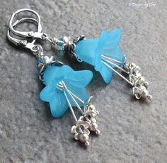 Blue Lucite Flower Earrings Sterling and Tibetan by DesignsbyCher, $24.00