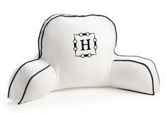 My Boyfriend's Back Horsebit Pillow, White w/ Navy Trim