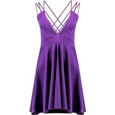 Boohoo Suvi Deep Plunge Strappy Detail Skater Dress   Boohoo (915 RUB) ❤ liked on Polyvore featuring dresses, body con dresses, bodycon dress, midi dress, midi skater dress and purple dress