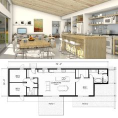 Inside this one-story FreeGreen home, you'll find a great room, three bedrooms and two baths (Houseplans.com)