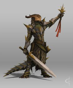 Bronze or copper dragonborn male, female, androgynous fighter