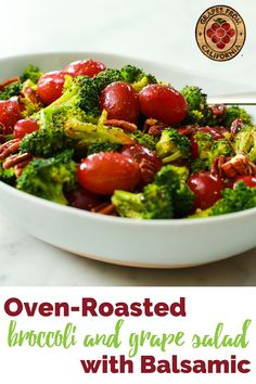 Roasted broccoli, cooked easily in a sheet pan in the oven, and fresh California grapes pair perfectly in this healthy broccoli and grape salad recipe.  Tossed in a garlic and balsamic vinaigrette, this broccoli recipe makes a great dairy-free and vegetarian side dish. Grape Recipes, Salad Recipes, Vegetarian Side Dishes, Vegetarian Recipes, California Food, Grape Salad, Broccoli Recipes, Side Dish Recipes, Tossed