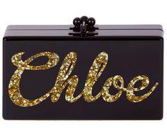 Edie Parker bespoke clutch in black with gold confetti, $1,795.