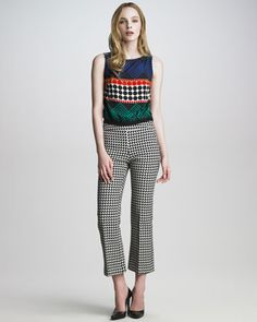 Mixed-Print Top & Jumbo Houndstooth Pants by Trina Turk at Neiman Marcus.