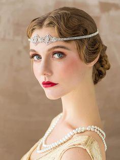 Flapper Headpiece, Flapper Headband, Flapper Costume, Rhinestone Headband, Wedding Headband, Great Gatsby Fashion, Great Gatsby Party, Turbans, Vintage Fashion 1950s