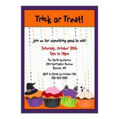 Shop CUTE Halloween Scary Cupcake Invitation created by limelightinvitations.