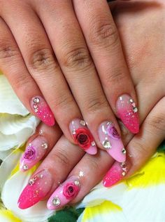 Pink floral nails by NailsbyAyano - Nail Art Gallery nailartgallery.nailsmag.com by Nails Magazine www.nailsmag.com #nailart