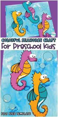 Colorful Seahorse Craft For Preschool Kids - Craft Play Learn Rainbow Fish Activities, Sea Activities, Fun Activities For Kids, Seahorse Crafts, Fish Crafts, Starfish Template, Colorful Seahorse, Seahorse Painting, Ocean Theme Crafts