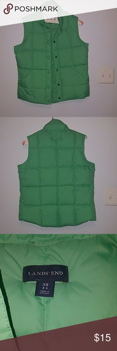 Green lands end puffer vest size xs 2-4 This is a like new puffer vest.  It is size xs. Lands' End Jackets & Coats Vests
