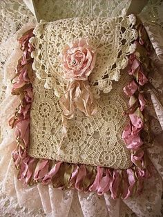 shabby crochet purse...beautiful