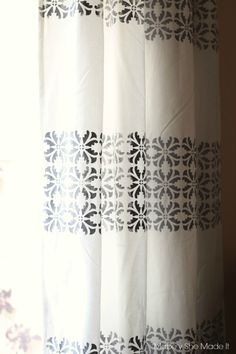 DIY Stenciled Fabric Curtains with modern Royal Design Studio wall stencil | Mabey She Made It | #curtains #stencil #homedecor #royaldesignstudio
