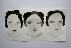 French girls in London town  original portraits  by cathycullis, £38.00