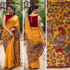 Yellow Kalamkari saree with a red boat neck blouse. Kalamkari Blouse Designs, Saree Blouse Neck Designs, Kalamkari Saree, Saree Blouse Patterns, Kalamkari Blouses, Kanjivaram Sarees, Saree Jacket Designs Latest, Boat Neck Saree Blouse, Lehenga Choli