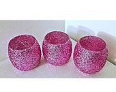 SALE 12 Fuchsia Pink Wedding Votive Holders, Wedding Decorations, Candle Holders, Votive Holders, Round Votive Holders, Wedding Table Decor