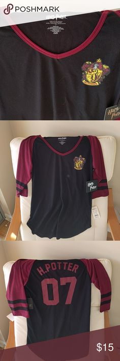 Harry Potter Shirt Gryffindor 3/4 sleeve. Really cute. New with tags. Tops