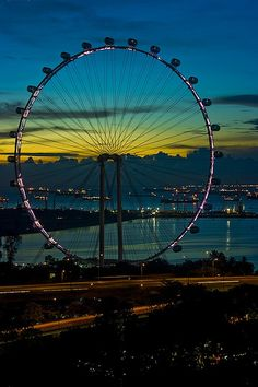 """"""" Singapore Flyer in Twilight by Swami Stream """" Philippines, My Travel Map, Carnival Rides, Thinking Day, City Lights, Night Lights, Twilight, Travel Inspiration, Cool Photos"""