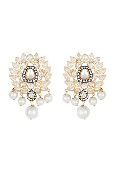 Featuring a pair of yellow rhodium plated earrings studded with faux polki stones, set in mixed metal. CARE: Store them in moisture free areas and keep them away from water and liquid fragrances. Stone Earrings, Pearl Earrings, Pernia Pop Up Shop, Designer Earrings, Designer Wear, Rose Gold Plates, Gold Jewelry, Plating, Exclusive Collection