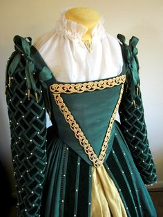 Custom Elizabethan Gown Ensemble Court Dress~ I love the weaving style of the sleeves.