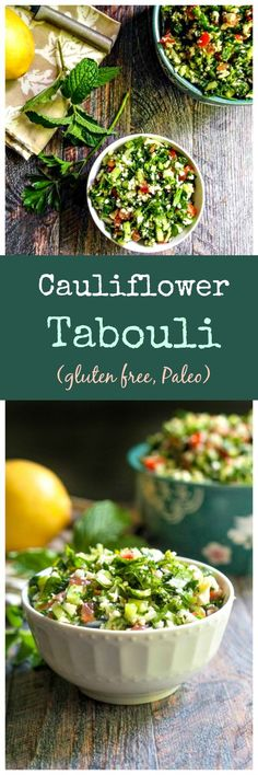 Cauliflower Tabouli - great gluten free alternative to traditional tabouli, light and refreshing summer salad. Whole 30 Recipes, Whole Food Recipes, Cooking Recipes, Paleo Side Dishes, Side Dish Recipes, Healthy Salads, Healthy Eating, Vegetarian Recipes, Healthy Recipes