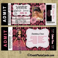 8 best ticket invitations quinceanera images on pinterest ticket