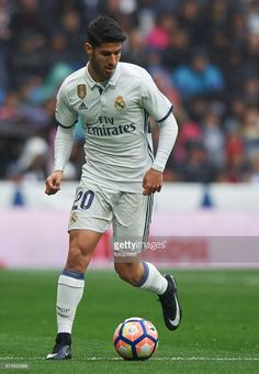 Marco Asensio of Real Madrid in action during the La Liga match between Real Madrid CF and Valencia CF at Estadio Santiago Bernabeu on April 29, 2017 in Madrid, Spain.