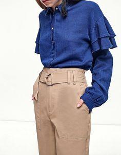 Pantalone carrot fit con cintura - Abbigliamento 8f949eb418b