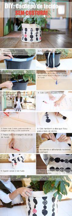 DIY: Como fazer um cachepô de tecido para plantas, SEM COSTURA! Diy Cape, Handmade Crafts, Diy And Crafts, Art Decor, Home Decor, Have Fun, Dyi, Creative, Green