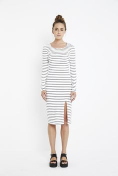 The 'Vivid Stripe Midi Dress' is definitely the perfect weekend outfit!