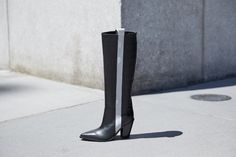 The clean racing stripe makes for a flattering graphic element, further accentuating the Kaethe boot's on-trend western silhouette. Sigerson Morrison, Racing Stripes, Western Boots, Knee Boots, Westerns, Fall Winter, Silhouette, Shoes, Fashion