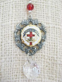 Assemblage Necklace , Church of Christ Pin, Heart-Shaped Pendant, Religious Pendant, Necklace by debsdaydreams on Etsy