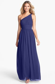 Free shipping and returns on Donna Morgan 'Rachel' Ruched One-Shoulder Chiffon Gown at Nordstrom.com. An elegantly knotted shoulder gathers the pleated bodice of a stately, Grecian-inspired gown. Waves of iridescent chiffon fall into a sweeping skirt from the tightly ruched waistband.