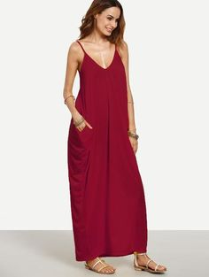 Fabric: Fabric has some stretch Season: Summer Type: Slip Pattern Type: Plain Sleeve Length: Sleeveless Color: Burgundy Dresses Length: Maxi Style: Casual Mater